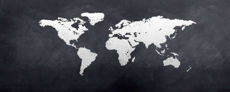 A sketch of the world map on a blackboard