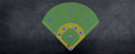 Players are lined up on the Baseball field strategy board drawn on blackboard