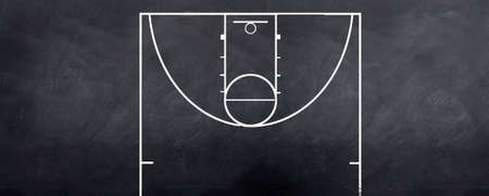 nba: A sketch of a baasketball court attacking end to strategize on during the game