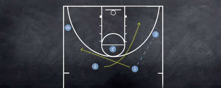 nba: A basketball attacking strategy being played out on the blackboard.