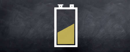 half full: A battery sketched on the blackboard which is half full.