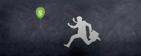 A sketch of a Business man chasing a Dollar Balloon