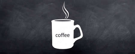 A fresh cup of brewing Coffee sketched on the blackboard photo