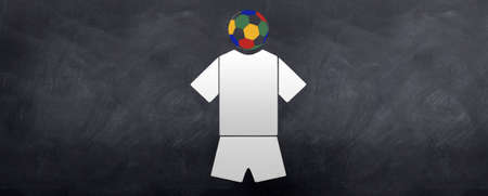A sketched football soccer uniform kit with the head of the 2010 world cup football