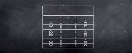 A sketch of an American football attackign end field of play for making strategy decisions before the game.