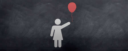 A girl lets her red Balloon go into the air and tries to catch it