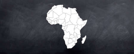 diagrammatic: A map of the African continent sketched on the blackboard Stock Photo
