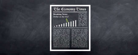 Breaking News - A sketched newspaper on the wall called The Economy Times shows the dollar on the rise. Lorem ipsum text is used as dummy text Stock Photo