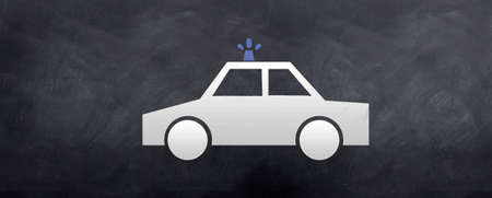 summons: A sketch of Police car cruiser on a blackboard. Stock Photo