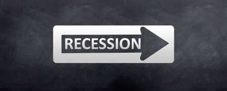 recession: A street sign with the words recession written on it. Stock Photo