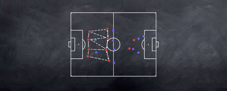 A ball possession strategy played out in chalk on the blackboard