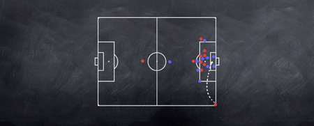 A corner kick attacking strategy played out in chalk on the blackboard