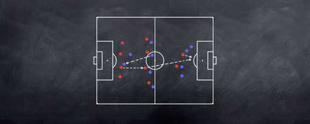 A counter attacking strategy played out in chalk on the blackboard photo
