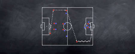 A wide playing attacking strategy played out in chalk on the blackboard Archivio Fotografico