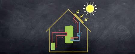 cobradores: Un boceto de c�mo funciona la energ�a solar en una casa con una caldera de agua. Casa freindly medioambientales.  Foto de archivo