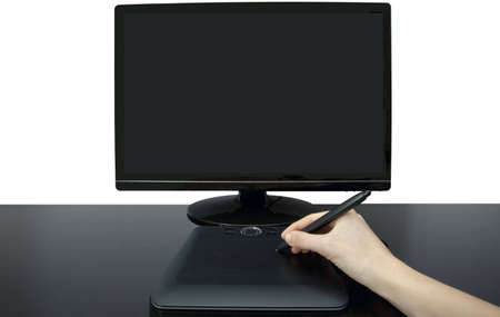 A female designer uses the pen and tablet to create an illustration on a monitor Stock Illustration - 6579194