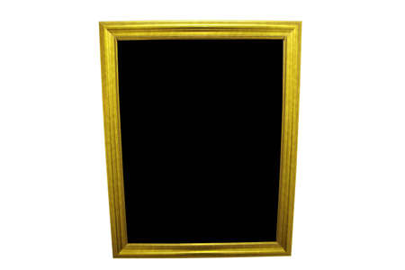 Gold Mirror or Picture Frame isolated on a white background with black copyspace