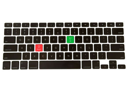 Green Up and red down buttons on a isolated keyboard