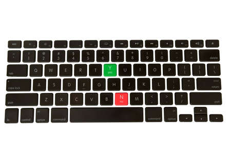 Green Yes and red No buttons on a isolated keyboard