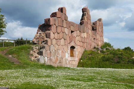 The old wall of The Bomarsund Fortress on Aland islands 스톡 콘텐츠