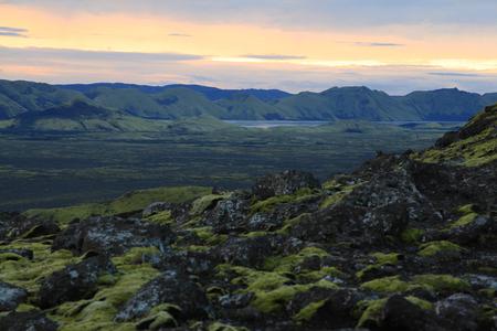 Sunset on a mountain Lakagigar in Iceland