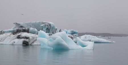Blue ice in Icy Lagoon in Iceland