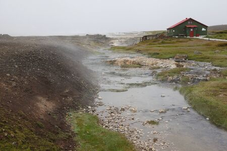 Small hot stream and spring in a middle of Iceland