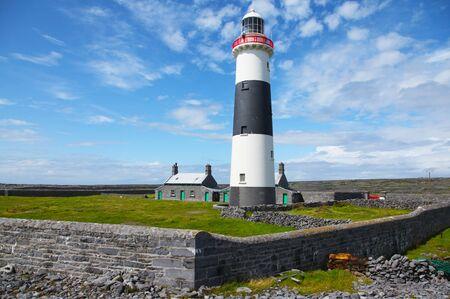 Inis Oirr Inisheer Lighthouse on Aran Islands in Ireland Stock Photo