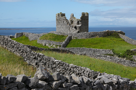 Tower and castle ruins on Inisheer island Aran Islands Ireland