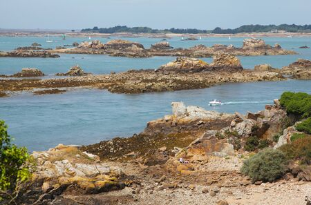 View of the island Ile-de-Brehat in Brittany in France