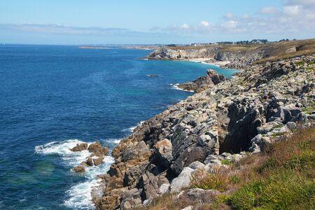 Rocks and cliff Beautiful Brittany Ocean Coastline in France Фото со стока