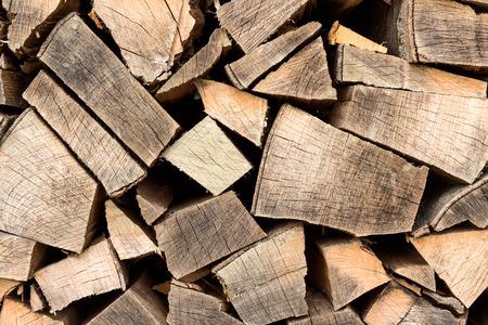 Firewood stacked taken as closeup
