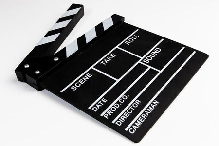 Clapperboard view on white background Imagens