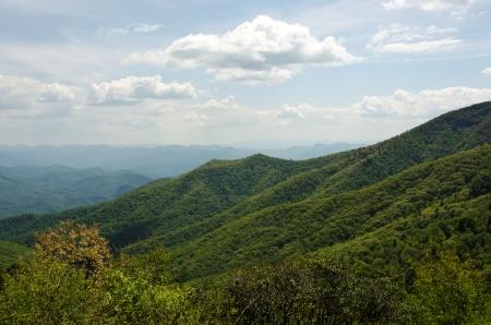 Great Smokey Mountains in North Carolina viewed from Blue Ridge Parkway