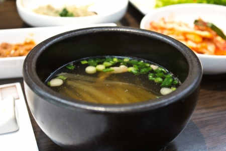 miso soup in the restaurant photo