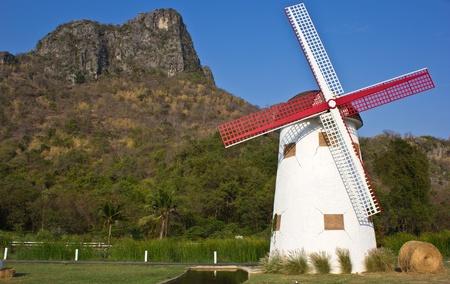 swiss sheep farm windmill at Cha-um Thailand photo