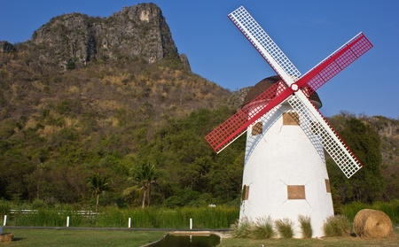swiss sheep farm windmill at Cha-um Thailand photo