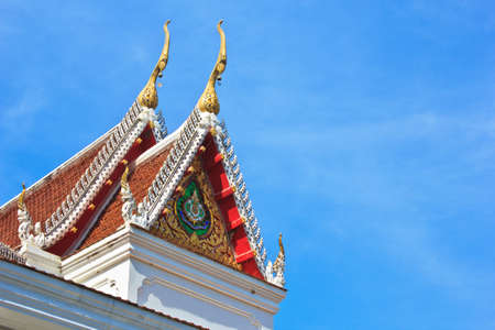 The front of Thai temple roof in Temple of The Wat Rhai Pa, Trat, Thailand photo