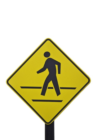 walking sign in the yellow background photo