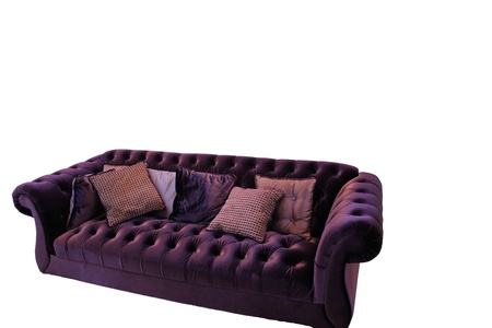 purple modern sofa isolated on white  photo