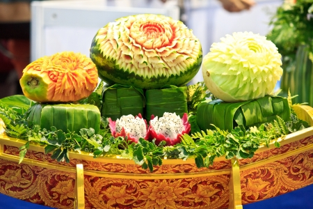 culinary skills: mix fruit carving in the Thailand  Stock Photo