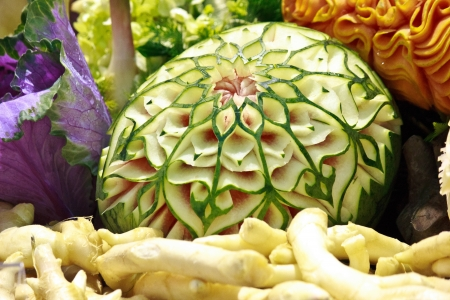 watermelon carving in the Thailand  photo