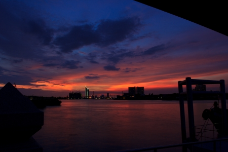 Bhumibol  bridge  area at twilight,Bangkok,Thailand photo