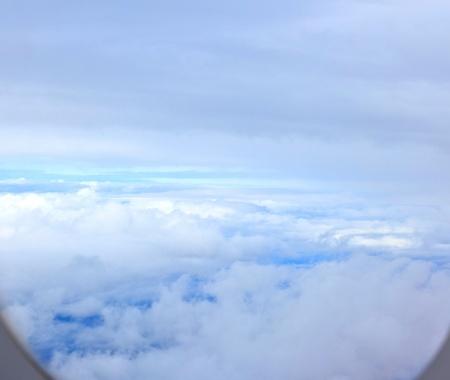 vliegtuig raam in de vroege ochtend Stockfoto