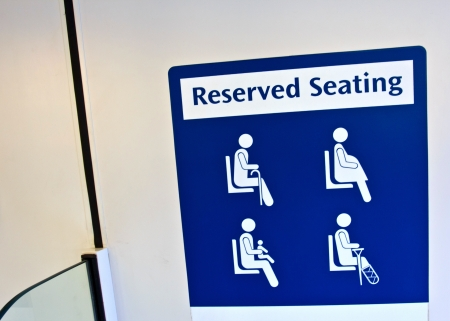 reserved seat: reserved seating sign in the MRT Stock Photo