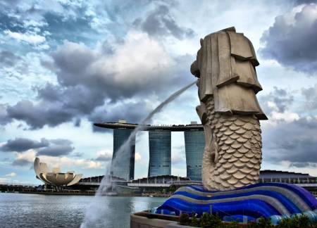 SINGAPORE - FEB 24  View of Merlion Statue on February 24, 2013 in Singapore  A mythical creature with the head of a lion and the body of a fish, used as a mascot and national personification of Singapore
