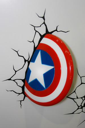 BANGKOK - MAY  11  A Captain America Shield model in Thailand Comic Con 2014 on May 11, 2014 at Siam Paragon, Bangkok, Thailand  Editorial