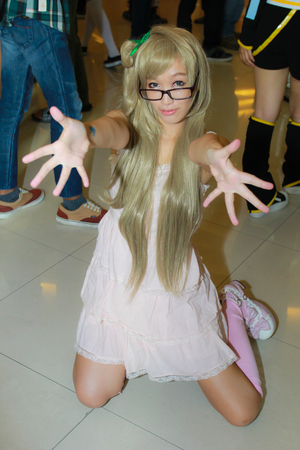 paragon: Bangkok - Oct 19: An unidentified Japanese anime cosplay pose  on October 19, 2014 at Paragon, Bangkok, Thailand.