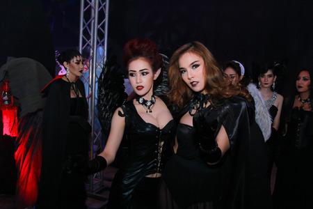 playboy: Bangkok - Oct 31: An unidentified Sexy playboy girl in Playboys Gothic Halloween on October 31, 2014 at Grand Postal Building, Bangkok, Thailand.
