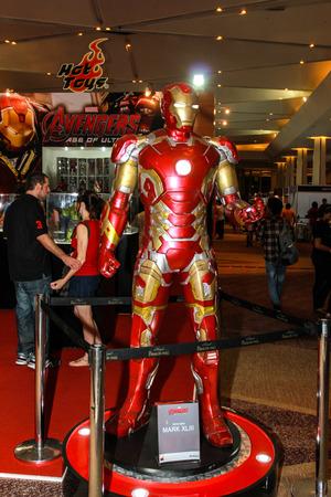 plastic soldier: Bangkok - May 2: An Iron Man model in Thailand Comic Con 2015 on May 2, 2015 at Siam Paragon, Bangkok, Thailand.